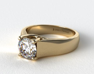 14K Yellow Gold Wide Cross Prong Solitaire Engagement Ring