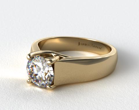 18K Yellow Gold Wide Cross Prong Solitaire Engagement Ring