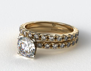 18K Yellow Gold 0.54ct French Cut Pave Diamond Eternity Ring & Matching French Cut Eternity Band