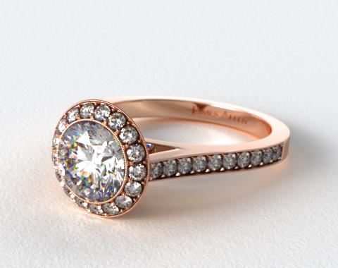 14K Rose Gold 0.48ctw Halo Pave Set Diamond Engagement Ring