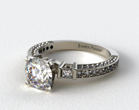14k White Gold Bar Set and Three Sided Pave Diamond Engagement Ring