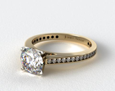 18k Yellow Gold Thin Channel Set Round Shaped Diamond Engagement Ring