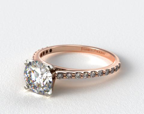 14K Rose Gold 0.40ct Common Prong Round Shaped Diamond Engagement Ring