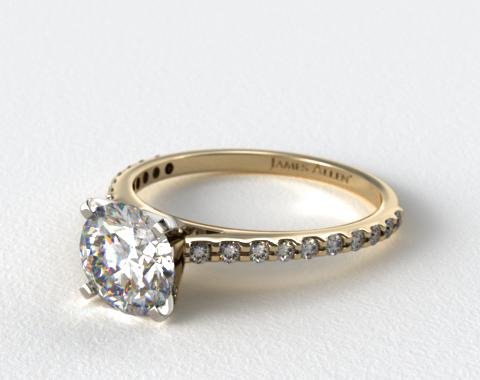 14k Yellow Gold 0.40ct Common Prong Round Shaped Diamond Engagement Ring