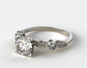 Platinum Antique Bezel and Pave Set Engagement Ring