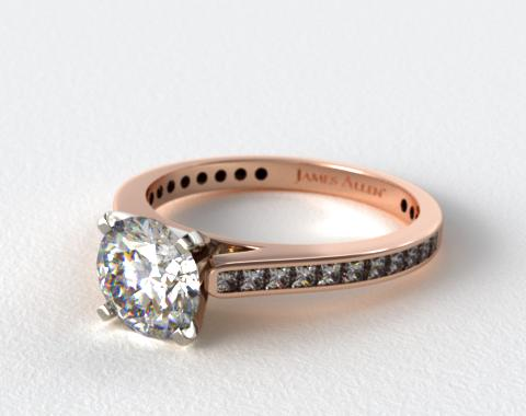 14K Rose Gold Thin Channel Set Princess Shaped Diamond Engagement Ring