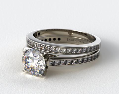 Platinum Channel Set Princess Cut Engagement Ring & .63ct Channel Set Wedding Ring