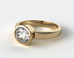 14k Yellow Gold Bezel Set Round Shaped Diamond Solitaire Ring