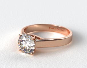 14K Rose Gold 3.3mm Cross Prong Solitaire Engagement Ring