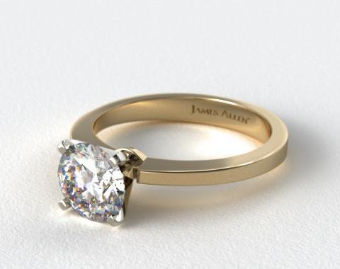 18K Yellow Gold Cathedral Reverse Tapered Diamond Engagement Ring