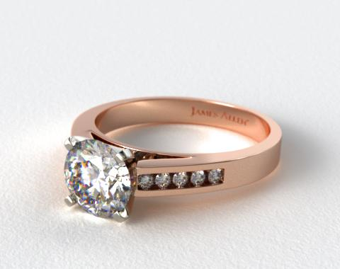 14K Rose Gold 0.13ctw Channel Set Round Shaped Diamond Engagement Ring