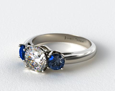 14K White Gold Three Stone Round Blue Sapphire Engagement Ring