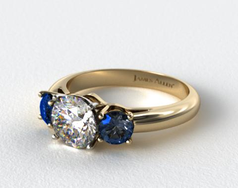 18K Yellow Gold Three Stone Round Blue Sapphire Engagement Ring
