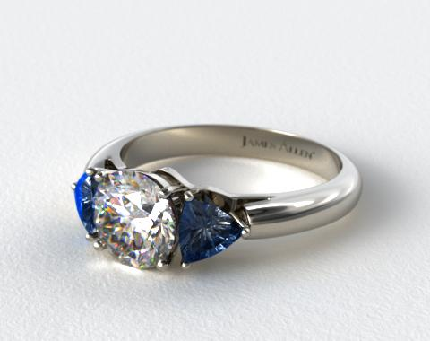 Platinum Three Stone Trillion Shaped Blue Sapphire Engagement Ring
