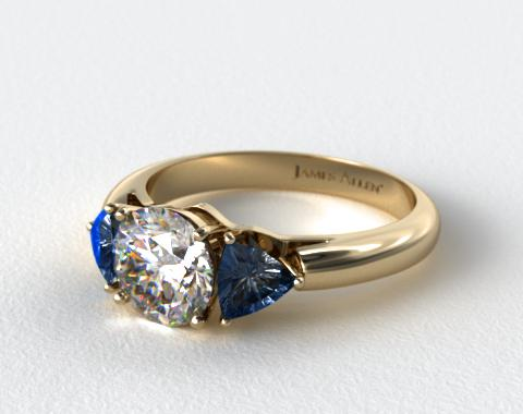 18k Yellow Gold Three Stone Trillion Shaped Blue Sapphire Engagement Ring