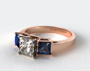 14K Rose Gold Three Stone Princess Shaped Blue Sapphire Engagement Ring