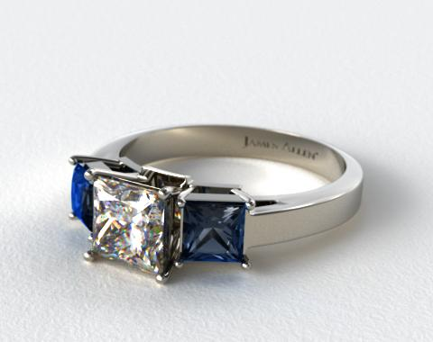 14k White Gold Three Stone Princess Shaped Blue Sapphire Engagement Ring