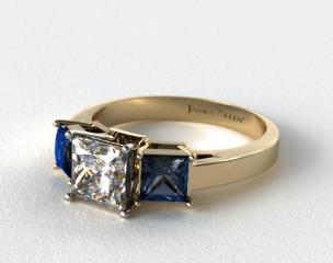 14k Yellow Gold Three Stone Princess Shaped Blue Sapphire Engagement Ring
