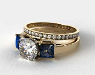18k Yellow Gold Three Stone Princess Shaped Blue Sapphire Engagement Ring & 0.26ct Pave Eternity Band