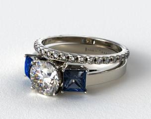 Platinum Three Stone Princess Shaped Blue Sapphire Engagement Ring & French Cut Pave Wedding Ring