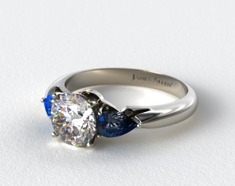 18k White Gold Three Stone Pear Shaped Blue Sapphire Engagement Ring