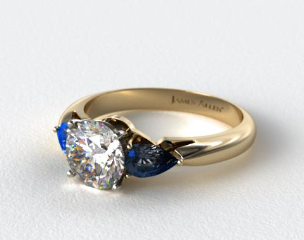 18k Yellow Gold Three Stone Pear Shaped Blue Sapphire Engagement Ring