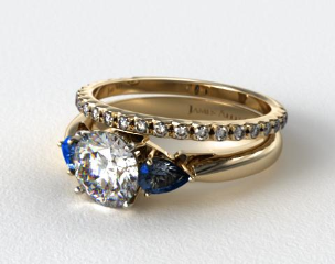 18k Yellow Gold Three Stone Pear Shaped Blue Sapphire Engagement Ring & French Cut Pave Wedding Ring