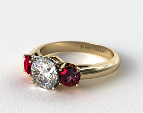 14k Yellow Gold Three Stone Round Ruby Engagement Ring
