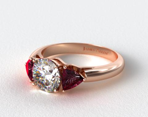 14K Rose Gold Three Stone Trillion Shaped Ruby Engagement Ring