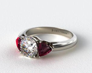 18k White Gold Three Stone Trillion Shaped Ruby Engagement Ring
