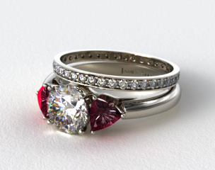 18k White 3-Stone Ruby Trillion Engagement Ring & 0.26ct Pave Eternity Band