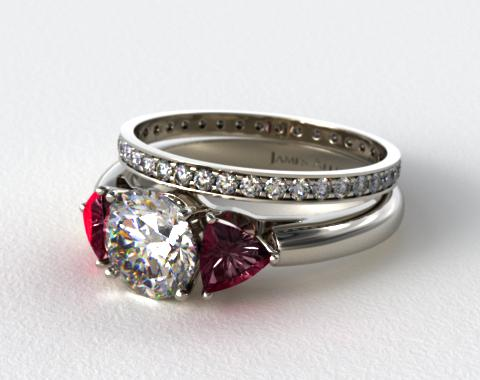 18k White 3-Stone Ruby Trillion Engagement Ring & 0.26ct Pave Eternity Band