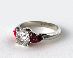14k White Gold Three Stone Pear Shaped Ruby Engagement Ring