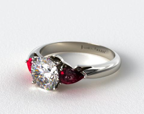 Platinum Three Stone Pear Shaped Ruby Engagement Ring