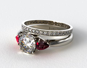 18k White Gold 3-Stone Pear Ruby Engagement Ring & 0.26ct Pave Eternity Diamond Band