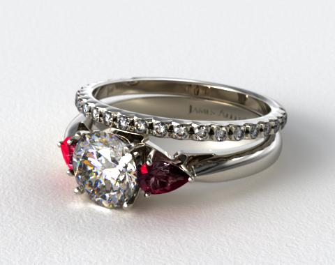 18k White Gold 3-Stone Pear Ruby Engagement Ring & French Cut Pave Diamond Wedding Ring
