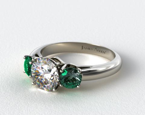 14k White Gold Three Stone Round Emerald Engagement Ring