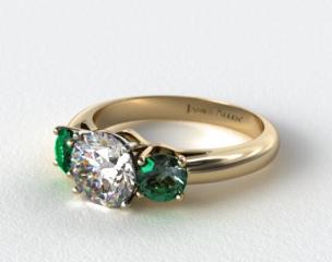 14k Yellow Gold Three Stone Round Emerald Engagement Ring