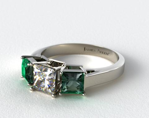 14k White Gold Three Stone Step-Cut Emerald Engagement Ring