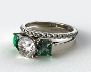 18k White Gold 3-Stone Carre Cut Emerald Engagement Ring & French Cut Pave Wedding Ring
