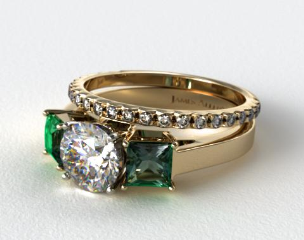 18k Yellow Gold 3-Stone Carre Cut Emerald Engagement Ring & French Cut Pave Wedding Ring