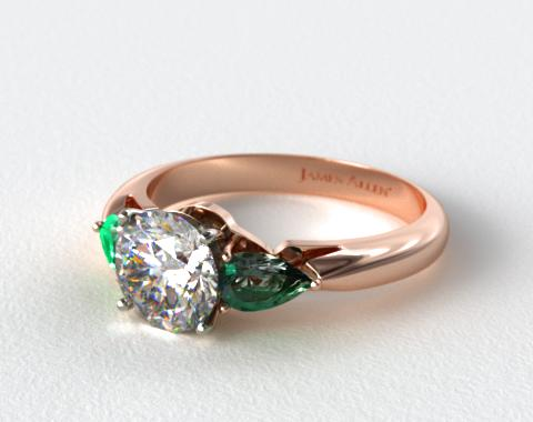 14K Rose Gold Three Stone Pear Shaped Emerald Engagement Ring