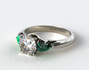 14k White Gold Three Stone Pear Shaped Emerald Engagement Ring