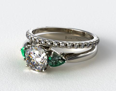 18k White Gold 3-Stone Pear Emerald Engagement Ring & French Cut Pave Set Wedding Ring