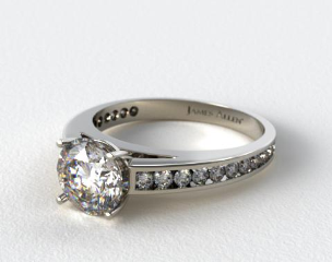 Platinum Channel Set Round Diamond Engagement  Ring