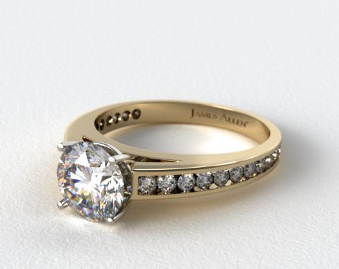 18k Yellow Gold Channel Set Round Diamond Engagement Ring