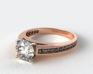 14K Rose Gold Channel Set Carre Shaped Diamond Engagement Ring