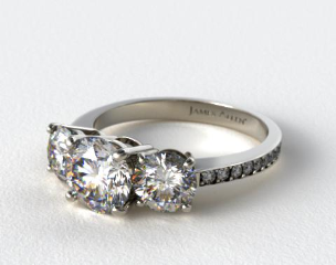 Platinum Three Stone Round and Pave Set Diamond Engagement Ring