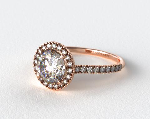 14K Rose Gold 0.29ctw Halo Pave Set Diamond Engagement Ring