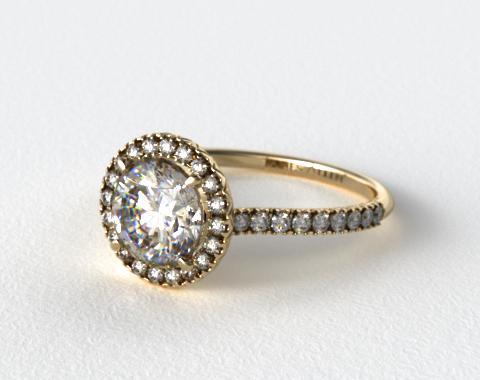 18K Yellow Gold 0.29ctw Halo Pave Set Diamond Engagement Ring